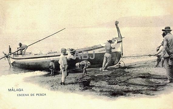 Postales de principios del siglo XX referidas a la barca de jábega y a la extracción del copo