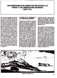 Las Ordenanzas de Gibraltar relativas a la pesca y las jábegas malagueñas (1697-1711)