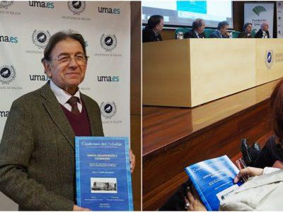 El autor con el CR presentado y una imagen de la mesa